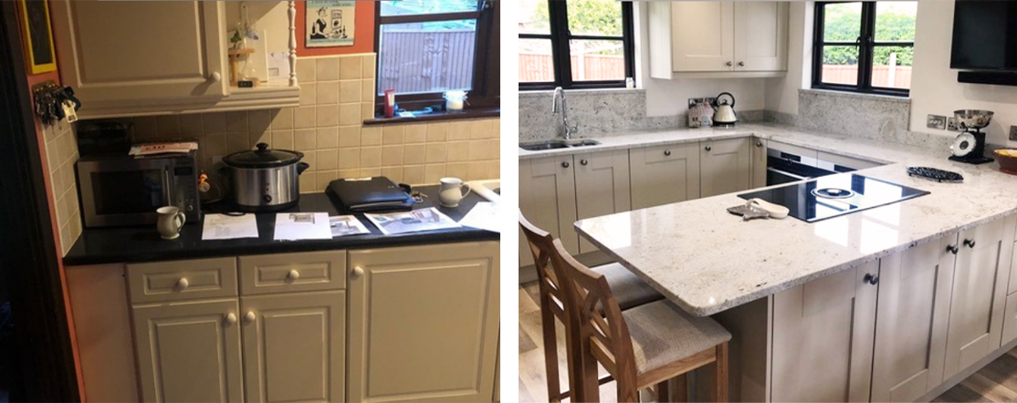 Before / after photos of a kitchen project in Nottingham